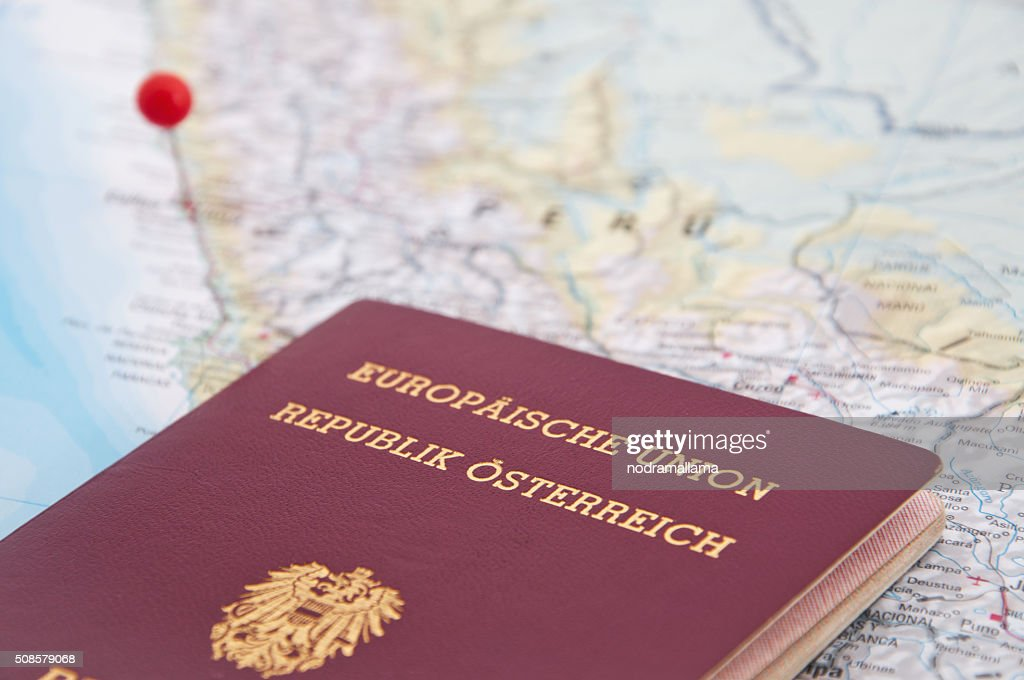 Lima, Peru, Red Pin and Passport, Close-Up of Map. : Stockfoto
