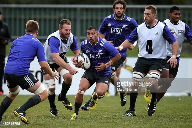 Lima Sepoaga runs the ball during a New Zealand All Blacks training session on July 15 2015 in Christchurch New Zealand