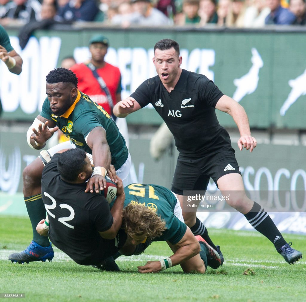 Lima Sopoaga of New Zealand goes to ground during the Rugby Championship 2017 match between South Africa and New Zealand at DHL Newlands on October 07, 2017 in Cape Town, South Africa.