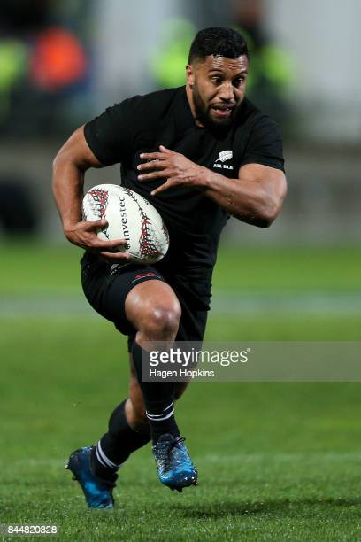 Lima Sopoaga of New Zealand in action during The Rugby Championship match between the New Zealand All Blacks and Argentina at Yarrow Stadium on...