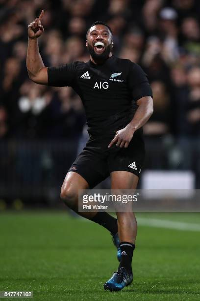 Lima Sopoaga of the All Blacks celebrates his try during the Rugby Championship match between the New Zealand All Blacks and the South African...