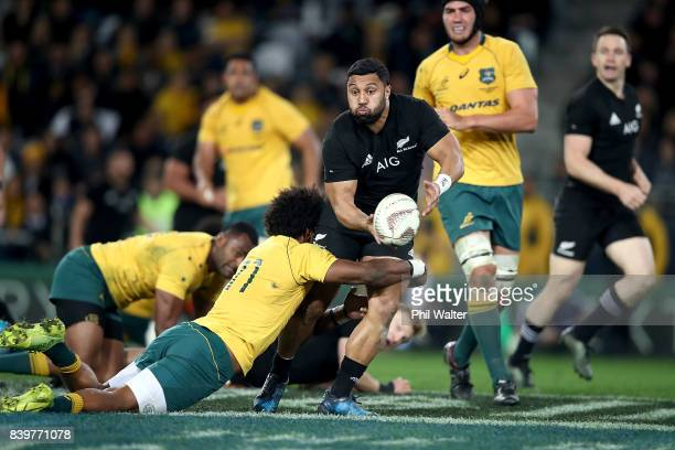 Lima Sopoaga of the All Blacks looks to pass during The Rugby Championship Bledisloe Cup match between the New Zealand All Blacks and the Australia...