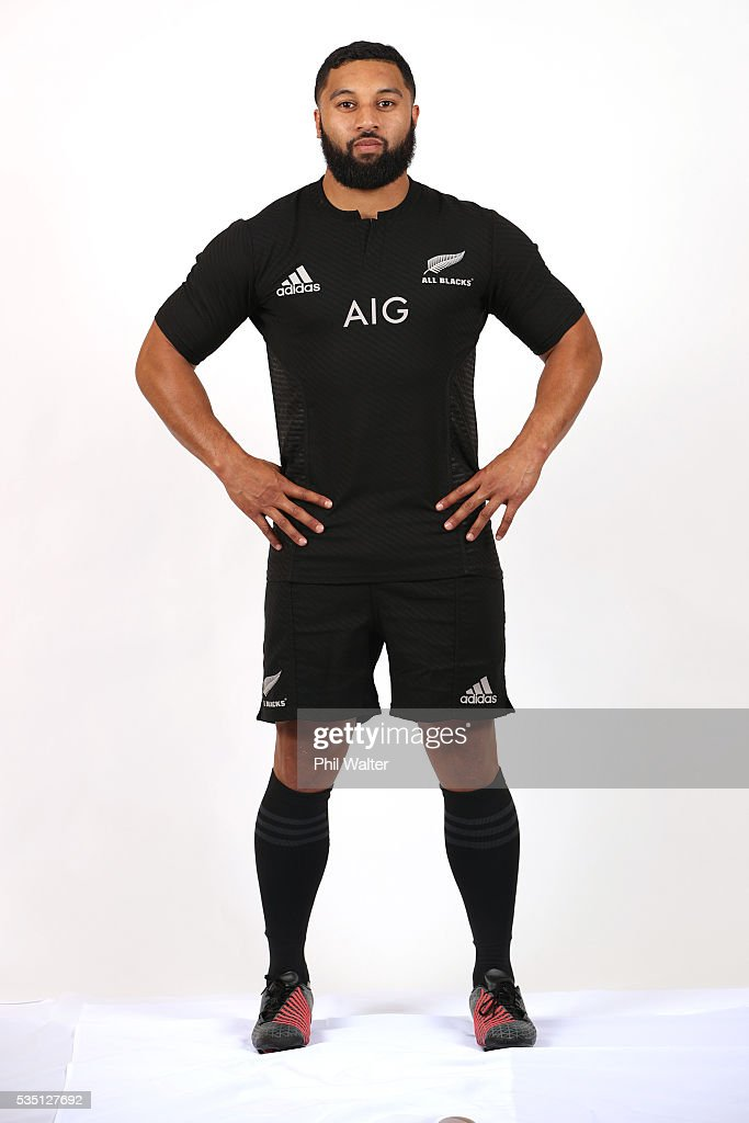 Lima Sopoaga of the All Blacks poses for a portrait during a New Zealand All Black portrait session on May 29, 2016 in Auckland, New Zealand.