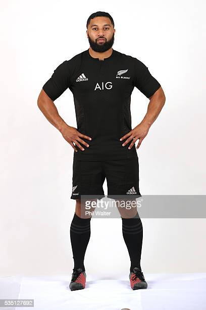 Lima Sopoaga of the All Blacks poses for a portrait during a New Zealand All Black portrait session on May 29 2016 in Auckland New Zealand