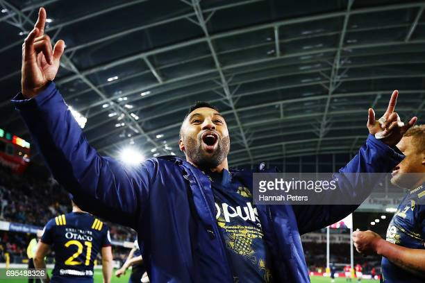 Lima Sopoaga of the Highlanders celebrates after winning the match between the Highlanders and the British Irish Lions at Forsyth Barr Stadium on...