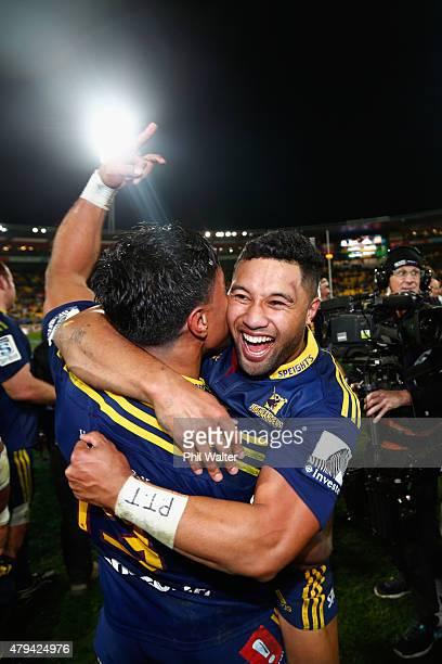 Lima Sopoaga of the Highlanders celebrates following the Super Rugby Final match between the Hurricanes and the Highlanders at Westpac Stadium on...