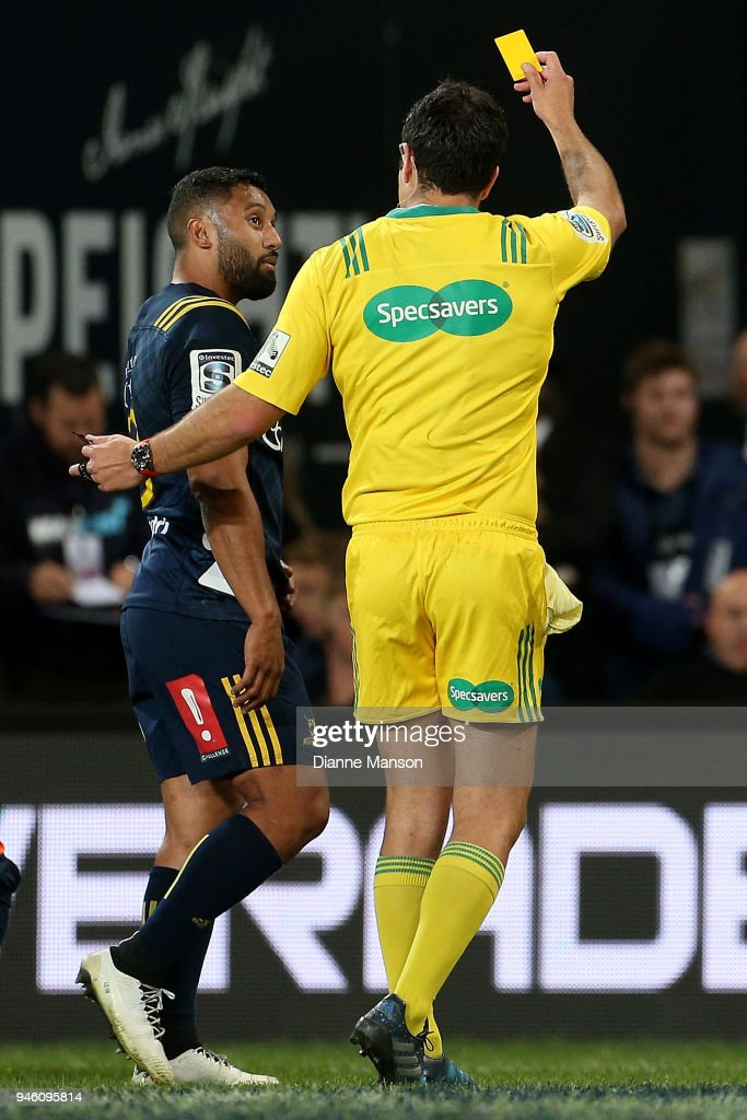 Lima Sopoaga of the Highlanders is shown the yellow card during the round nine Super Rugby match between the Highlanders and the Brumbies at Forsyth Barr Stadium on April 14, 2018 in Dunedin, New Zealand.