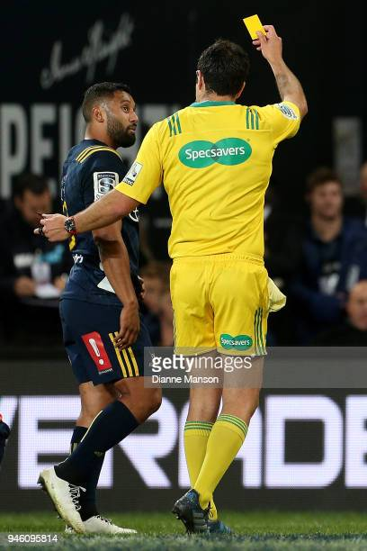 Lima Sopoaga of the Highlanders is shown the yellow card during the round nine Super Rugby match between the Highlanders and the Brumbies at Forsyth...