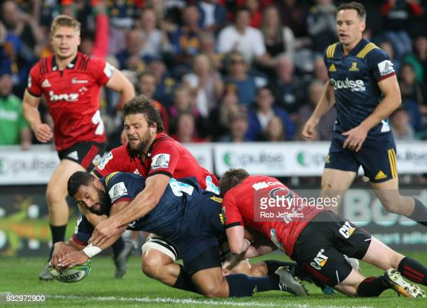 Lima Sopoaga of the Highlanders scores a try during the round five Super Rugby match between the Highlanders and the Crusaders at Forsyth Barr...