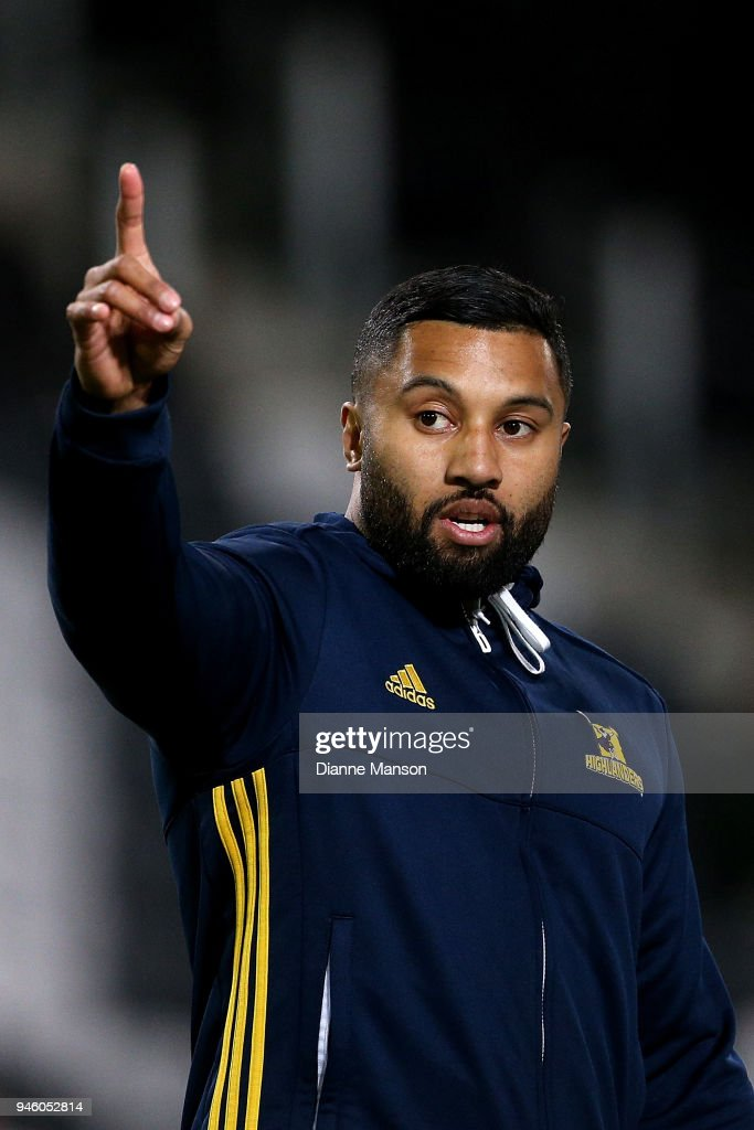 Lima Sopoaga of the Highlanders warms up prior to the round nine Super Rugby match between the Highlanders and the Brumbies at Forsyth Barr Stadium on April 14, 2018 in Dunedin, New Zealand.