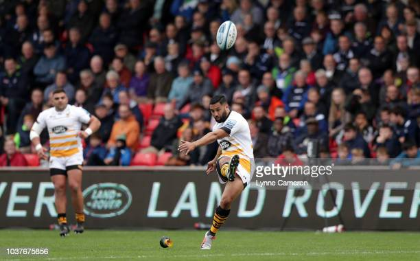 Marland Yarde of Sale Sharks during the Gallagher Premiership Rugby match between Sale Sharks and Wasps at AJ Bell Stadium on September 22 2018 in...