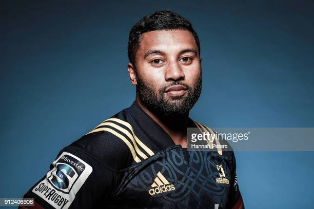 Lima Sopoaga poses during the Highlanders Headshots session on January 22 2018 in Auckland New Zealand