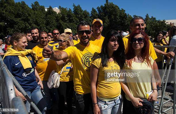Limassol fans arrive before the Cypriot First Division match AEL Limassol FC and APOEL FC at the Tsirion Stadium on May 17 2014 in in Limassol Cyprus