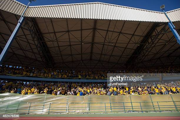 Limassol fans cheer in the stands in Tsirion Stadium during the Cypriot First Division match AEL Limassol FC and APOEL FC at the Tsirion Stadium on...