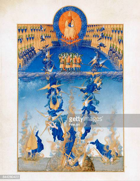 Limbourg Brothers The Fall of the Rebel Angels folio 64v from the Très Riches Heures du duc de Berry 141116 tempera on vellum 29 x 21 cm Musée Condé...
