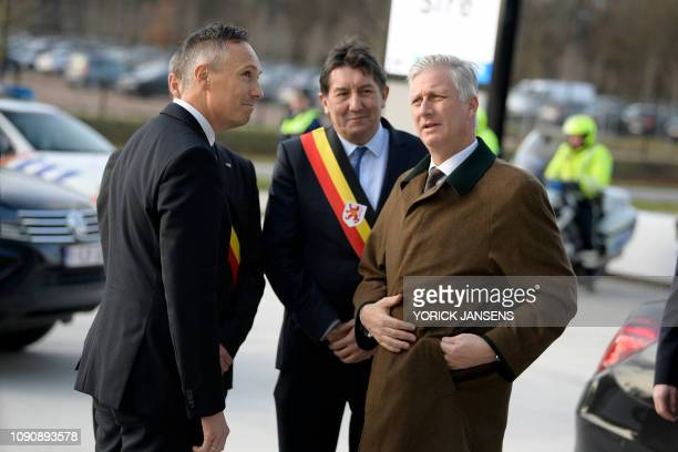 Limburg Province governor Herman Reynders and King Philippe Filip of Belgium pictured during a royal visit to the T2 Technologie en Talent campus in...
