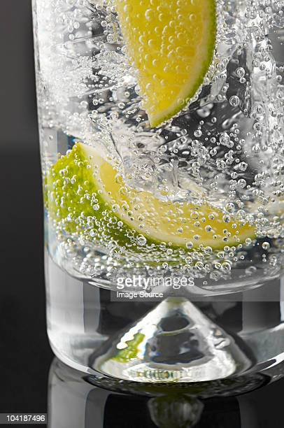 Lime and bubbles in a gin and tonic