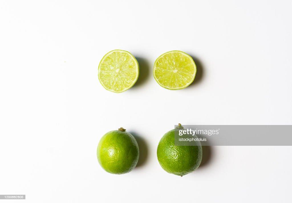 Lime cut to prepare a Mojito : Stock Photo