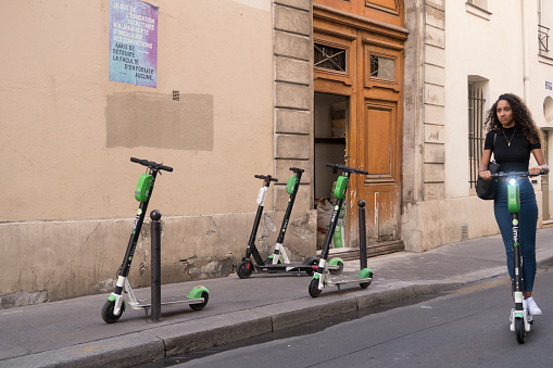 Lime electric scooters in Paris, France 1174253059