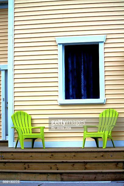 lime geen chairs - shunting yard stock photos and pictures