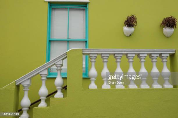 A lime green colored home in the Bo Kaap neighborhood of Cape Town, South Africa