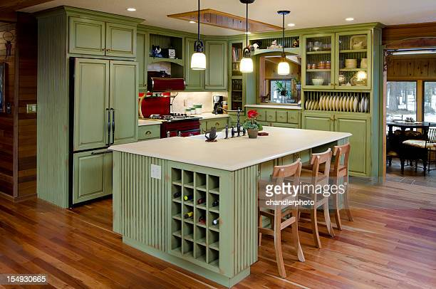 Lime green modern kitchen.