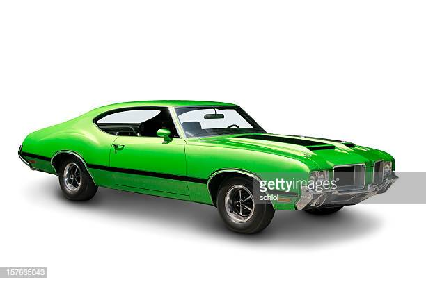 lime green muscle car - 1970 - 1970s muscle cars stock pictures, royalty-free photos & images
