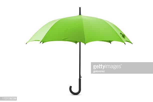 Lime green open umbrella with a curly handle