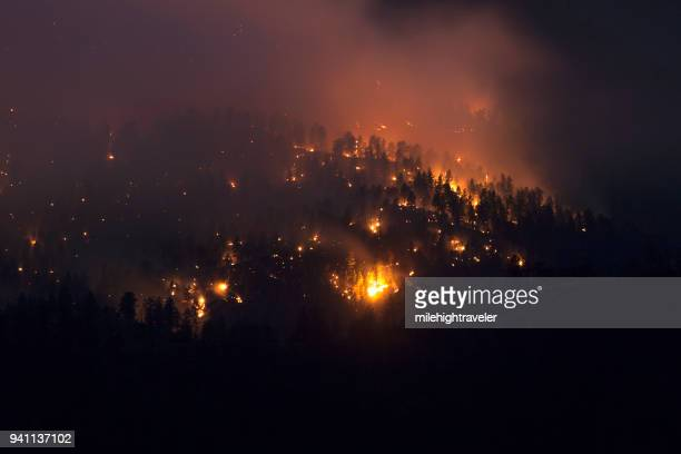 Lime Gulch Forest Fire night time mountain glowing Foxton Colorado
