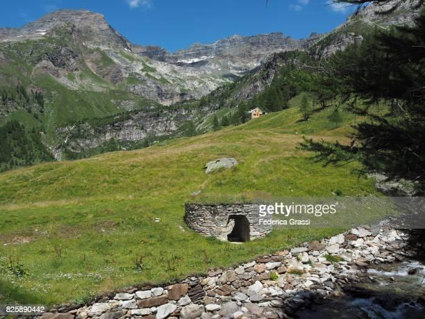 Lime Kiln Along Rio Frua Mountain Stream, Alpe Veglia Natural Park