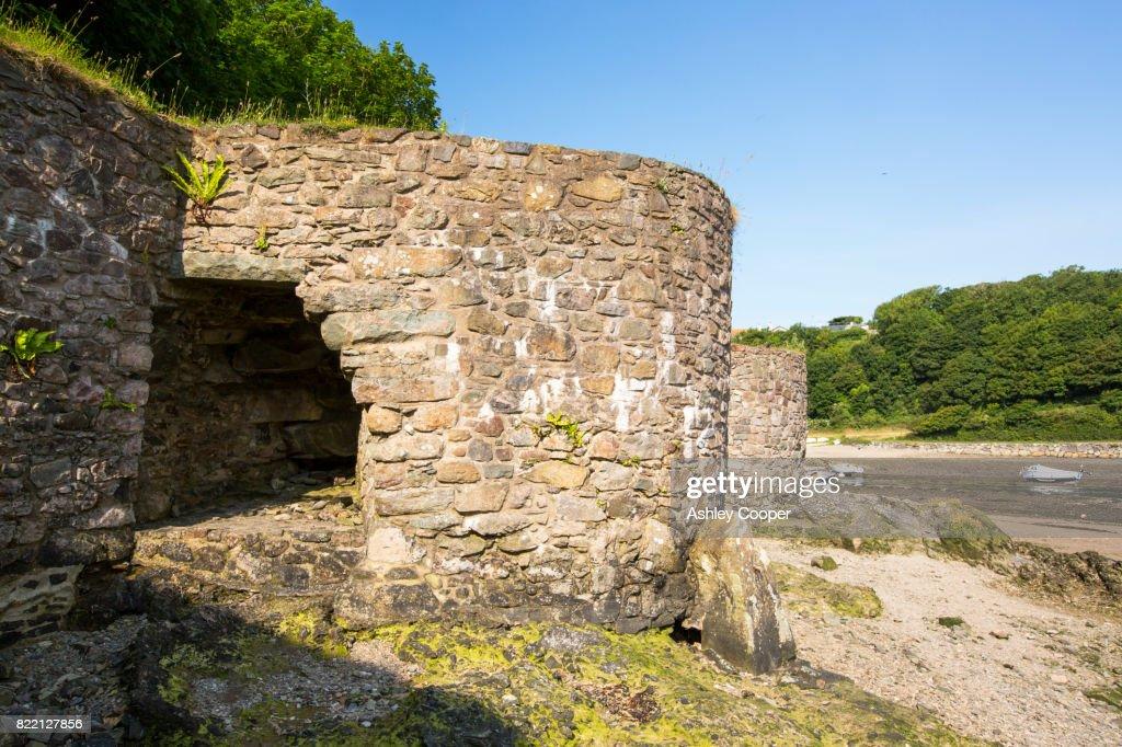 Lime Kilns at the edge of Solva Harbour, Pembrokeshire, UK. : Stock Photo