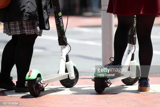 Lime scooters are ridden by the public in Auckland's downtown area at lunchtime on December 04 2018 in Auckland New Zealand There have been almost...