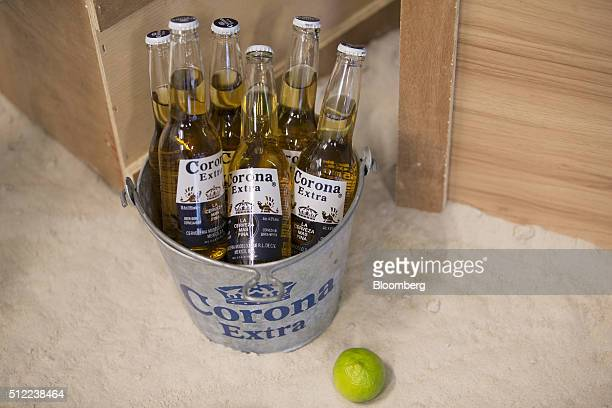 A lime sits beside a bucket of Corona lager beer bottles produced by AnheuserBusch InBev NV following news conference to announce the company's full...