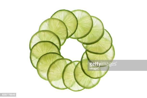 Lime Slices Circle Loop on White Background