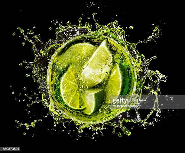 Lime Splash into Cocktail glass