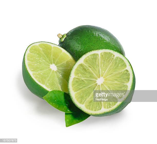 lime trio with leafs - bisected stock pictures, royalty-free photos & images
