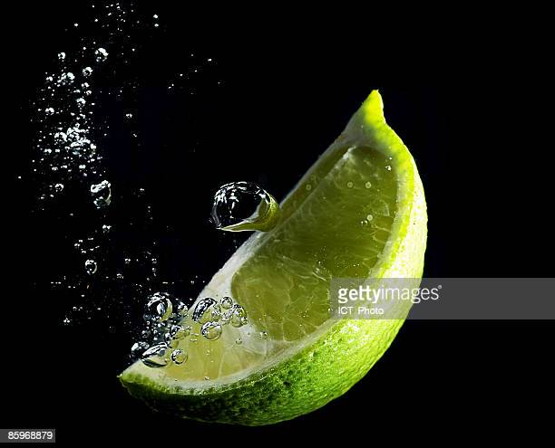 Lime wedge and bubbles