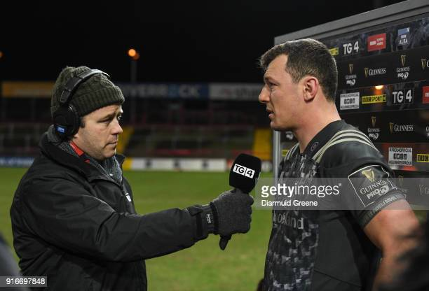 Limerick Ireland 10 February 2018 Man of the Match Robin Copeland is interviewed by Marcus Horan of TG4 after the Guinness PRO14 Round 14 match...