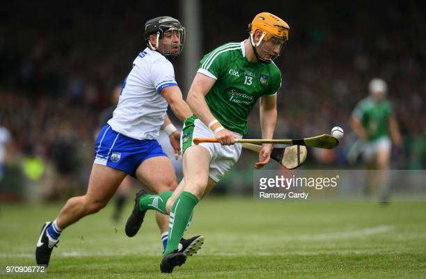 Limerick Ireland 10 June 2018 Seamus Flanagan of Limerick in action against Noel Connors of Waterford during the Munster GAA Hurling Senior...