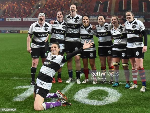 Limerick Ireland 10 November 2017 Christelle LeDuff of France and the Barbarians celebrates infront of players from left Ailis Egan Nora Stapleton...
