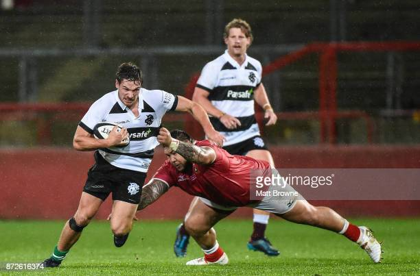 Limerick Ireland 10 November 2017 George Bridge of Barbarians RFC is tackled by Ben Tameifuna of Tonga during the Representative Match between...
