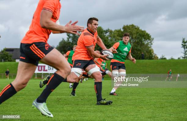 Limerick Ireland 11 September 2017 CJ Stander of Munster in action against Jack O'Donoghue during Munster Rugby squad training at the University of...