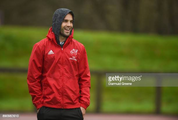 Limerick Ireland 12 December 2017 Conor Murray sits out Munster Rugby squad training at the University of Limerick in Limerick