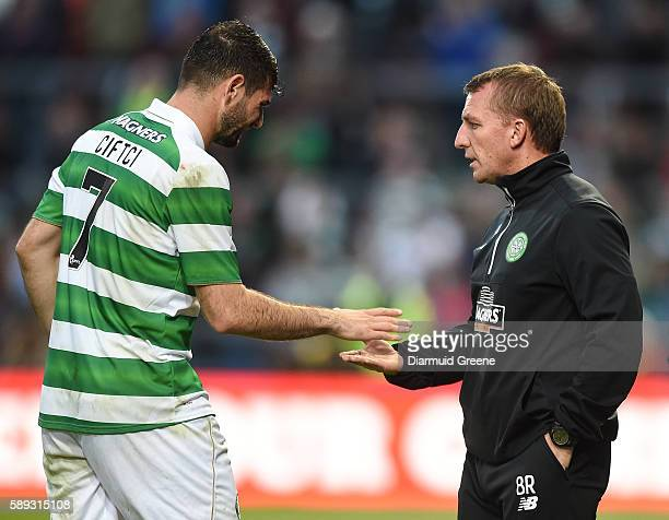 Limerick Ireland 13 August 2016 Celtic FC manager Brendan Rogers exchanges a handshake with Nadir Ciftci after he was substituted during the...