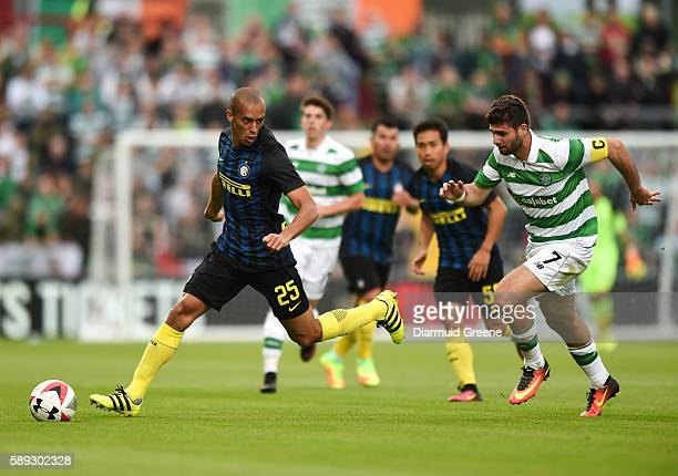 Limerick Ireland 13 August 2016 Miranda of Inter Milan in action against Nadir Ciftci of Celtic FC during the International Champions Cup game...