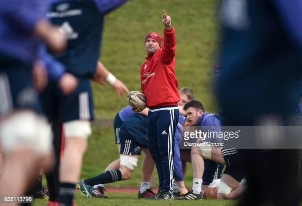 Limerick Ireland 13 February 2017 Munster defence coach Jacques Nienaber during squad training at the University of Limerick in Limerick