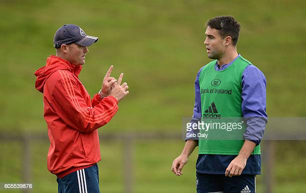 Limerick Ireland 14 September 2016 Conor Murray right of Munster and Munster defence coach Jacques Nienaber during squad training at the University...
