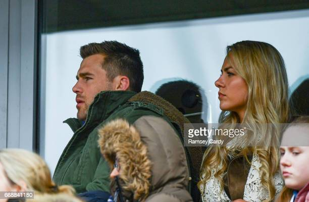 Limerick Ireland 15 April 2017 CJ Stander of Munster watches on with wife JeanMarie during the Guinness PRO12 match between Munster and Ulster at...
