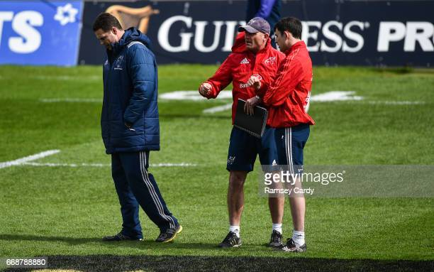 Limerick Ireland 15 April 2017 Munster Director of Rugby Rassie Erasmus left defence coach Jacques Nienaber centre and technical coach Felix Jones...