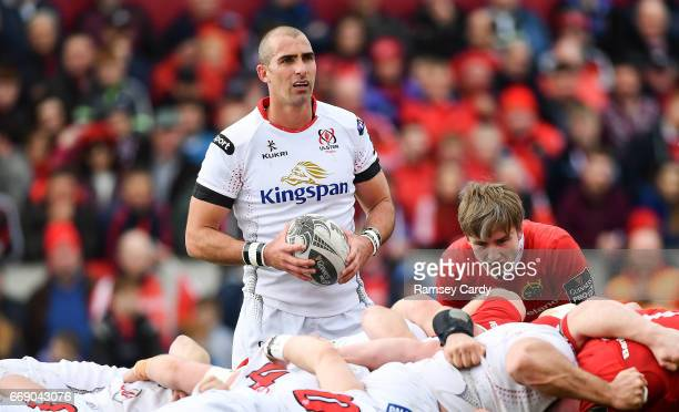 Limerick Ireland 15 April 2017 Ruan Pienaar of Ulster during the Guinness PRO12 match between Munster and Ulster at Thomond Park in Limerick